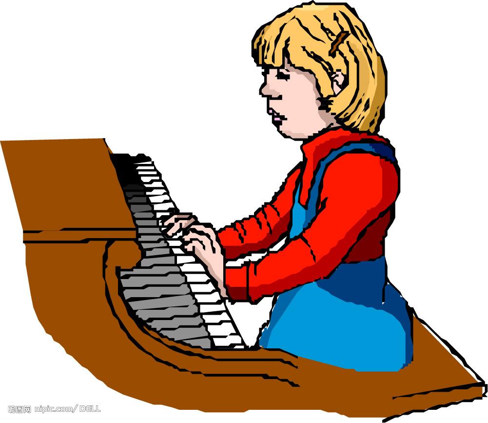 弹钢琴 音乐符号 矢量