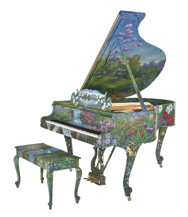 """钢琴之王施坦威""""春日时光""""艺术外壳钢琴"""